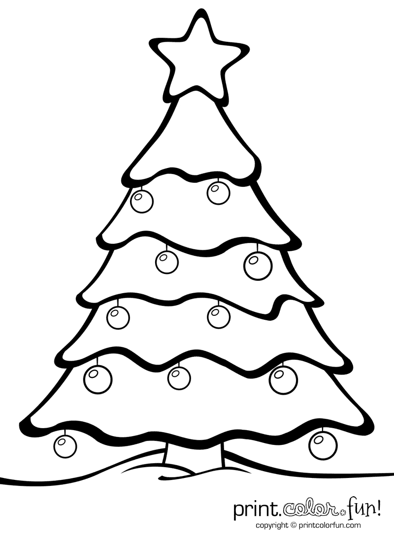 Christmas Tree With Ornaments | Print. Color. Fun! Free Printables - Free Printable Christmas Ornament Crafts