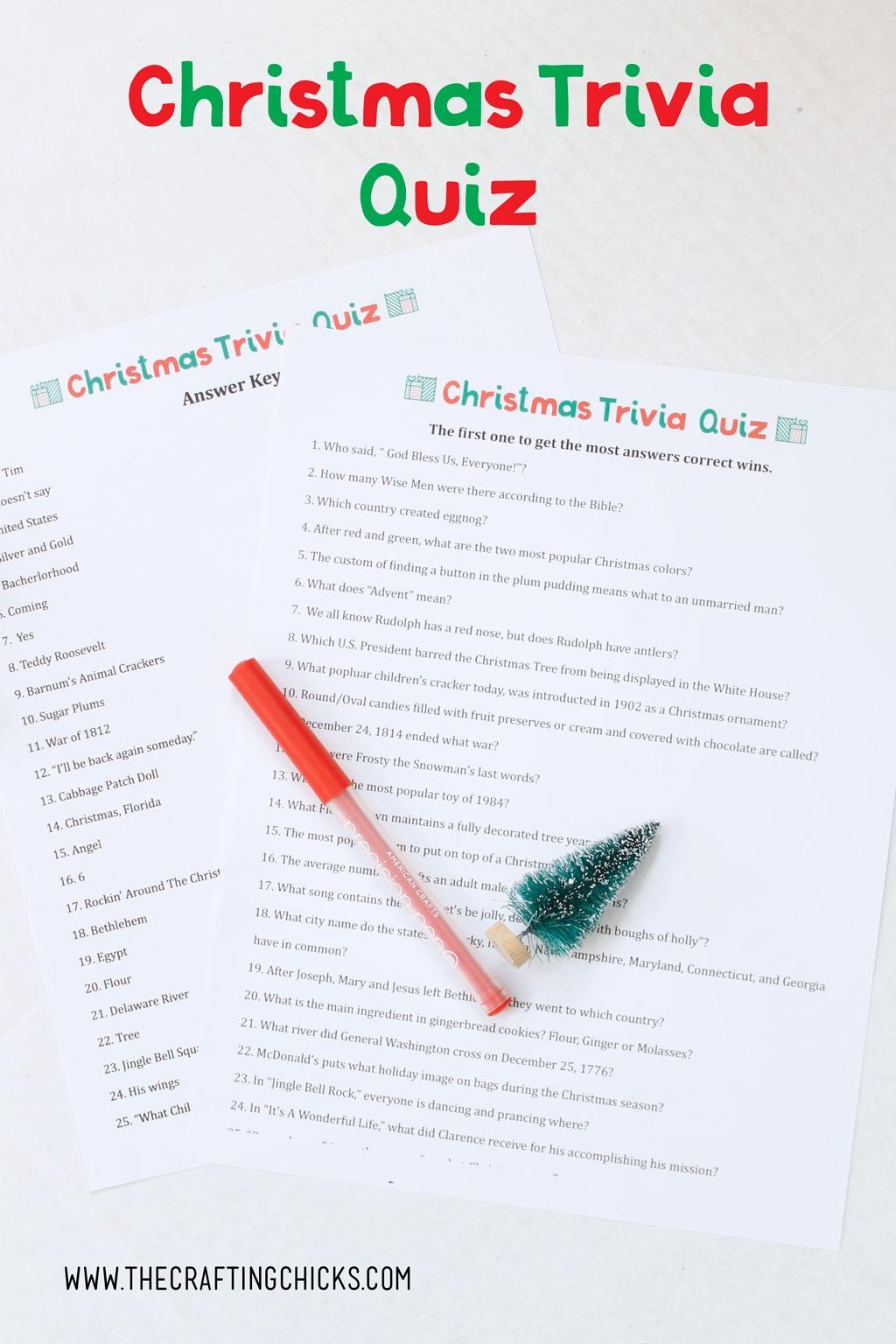 Christmas Trivia Quiz Free Printable - The Crafting Chicks - Free Printable Christmas Trivia Quiz