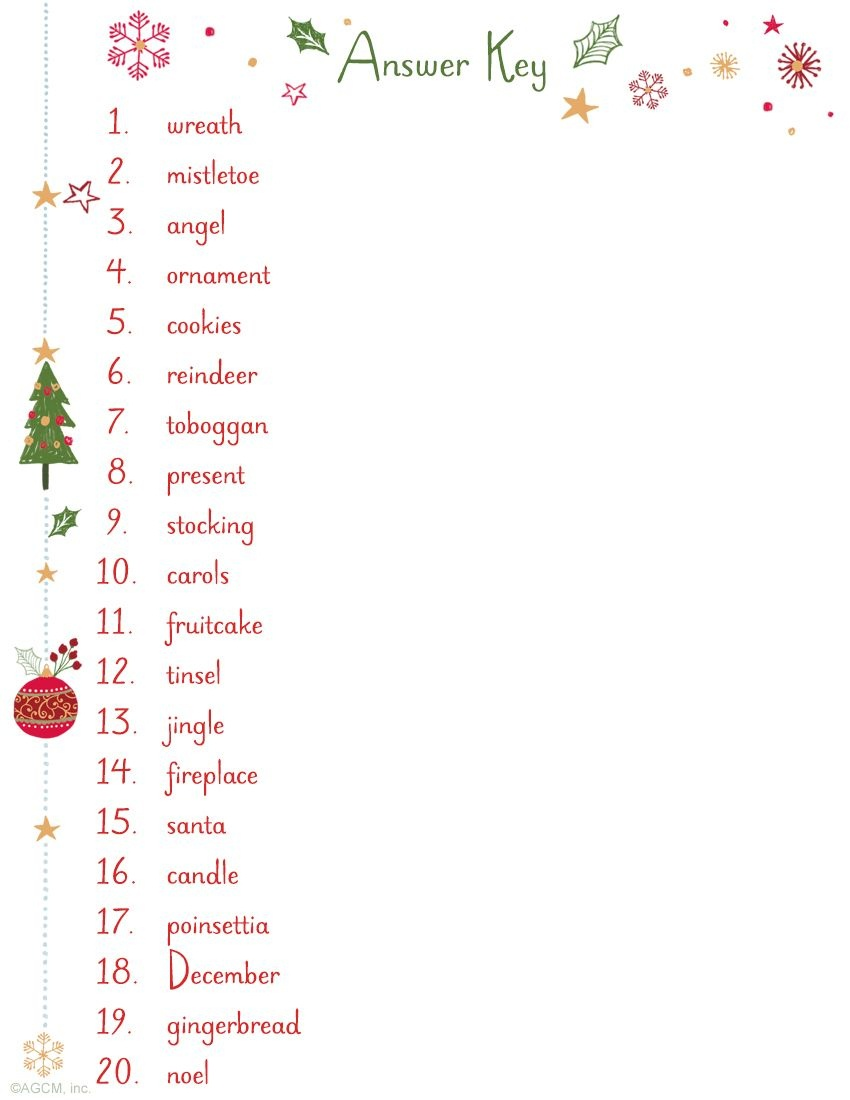 Christmas Word Scramble Answer Key | Jbwalk33@knology - Free Printable Christmas Word Games