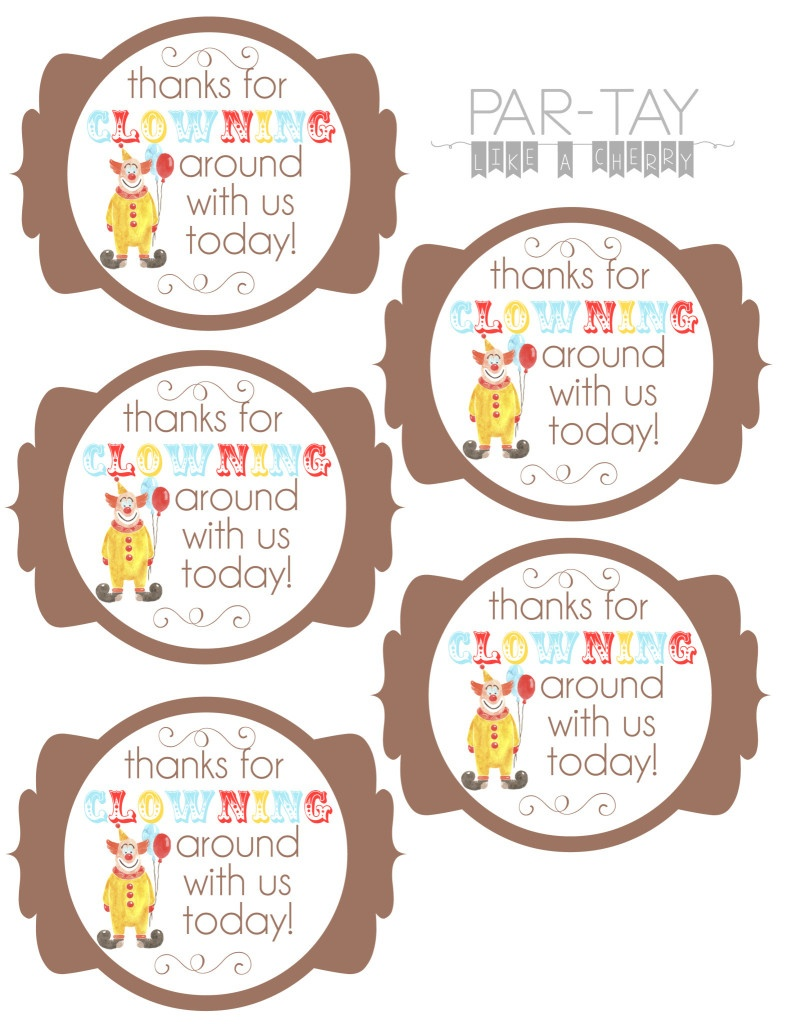 Circus Party Favor Tags - Party Like A Cherry - Party Favor Tags Free Printable