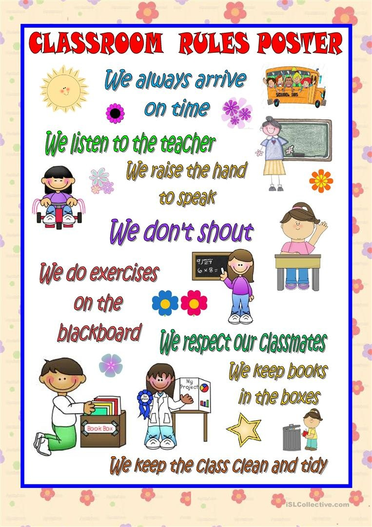 Classroom Rules Poster Worksheet - Free Esl Printable Worksheets - Free Printable Classroom Rules Worksheets