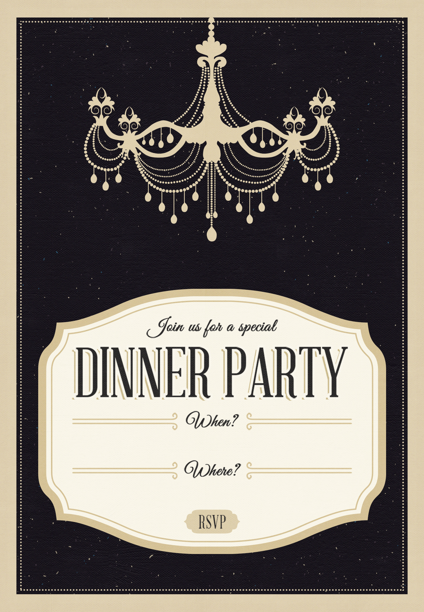 Classy Chandelier - Free Printable Dinner Party Invitation Template - Free Printable Chandelier Template