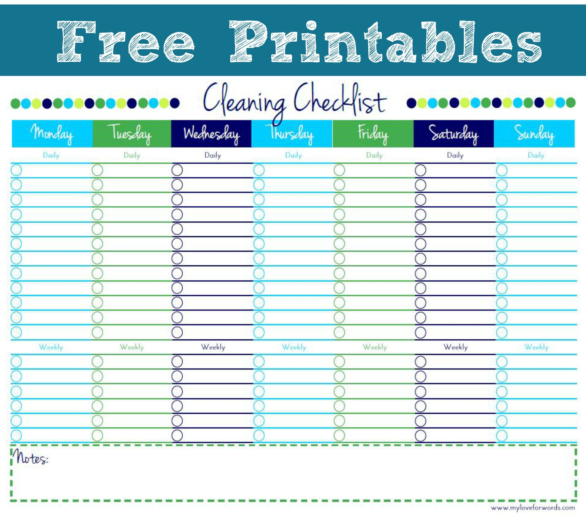 Cleaning Checklist {Free Printable} - Free Printable Checklist