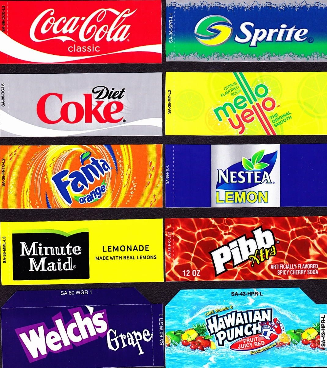 Coke Machine Labels | 10 Coke Mixed Set Small Flavor Labels Soda - Free Printable Soda Vending Machine Labels