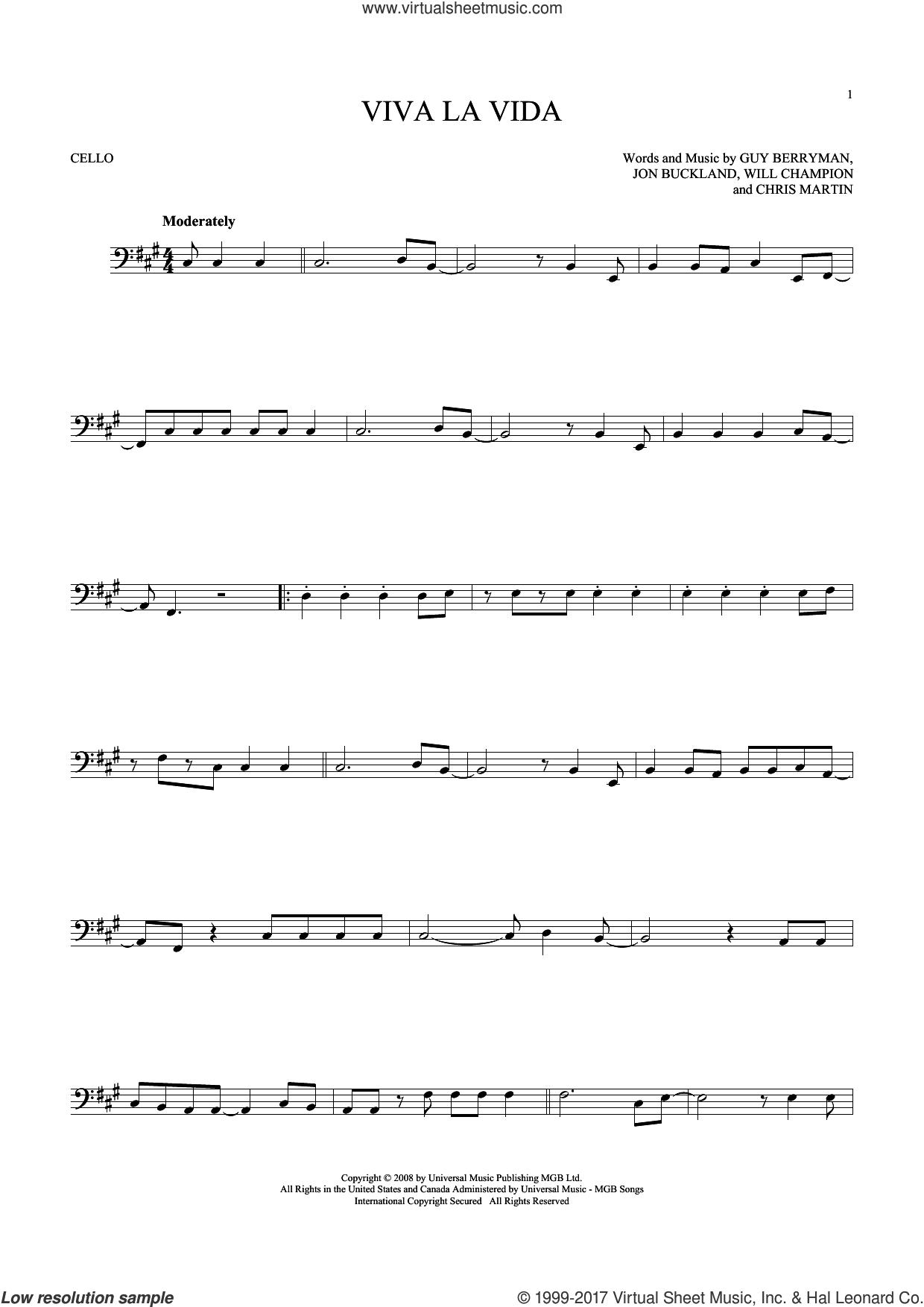 Coldplay - Viva La Vida Sheet Music For Cello Solo [Pdf] - Free Printable Violin Sheet Music For Viva La Vida