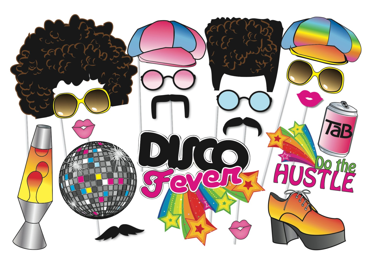 Collection Of Free Decretion Clipart Party Prop. Download On Ui Ex - Free Printable 70's Photo Booth Props