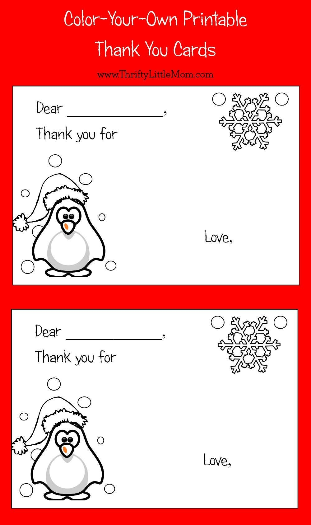 Color-Your-Own Printable Thank You Cards For Kids | Thrifty Thursday - Free Printable Color Your Own Cards
