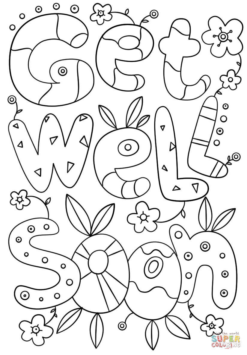 Coloring Book World ~ Get Well Soon Doodle Coloringe Free - Free Printable Get Well Soon Cards
