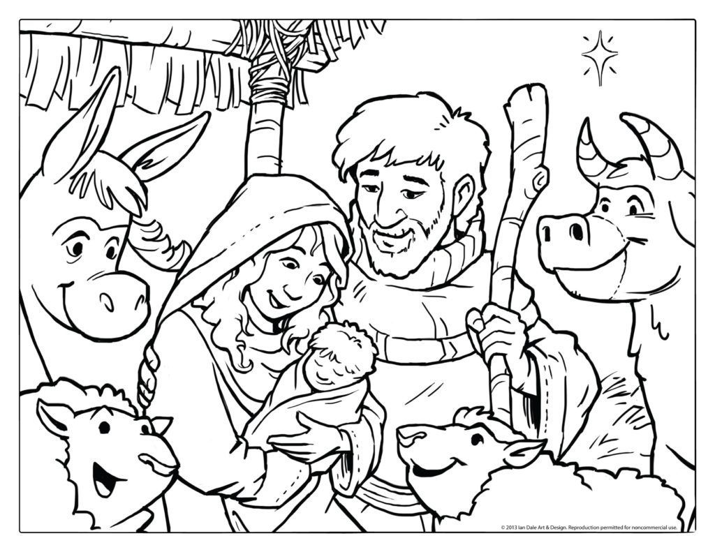 Coloring Book World ~ Printable Nativity Coloring Page Simple Scene - Free Printable Nativity Scene Pictures