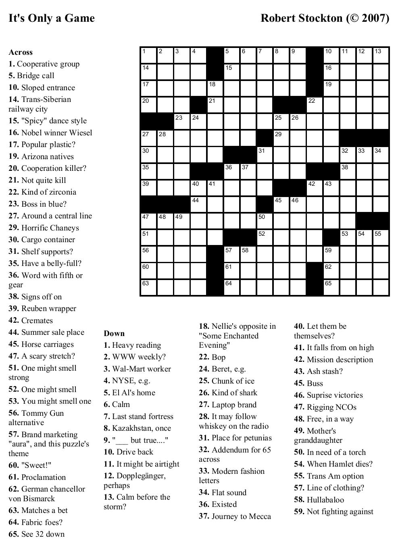 Coloring ~ Large Print Crosswordsthomas Joseph Printable - Free Daily Online Printable Crossword Puzzles