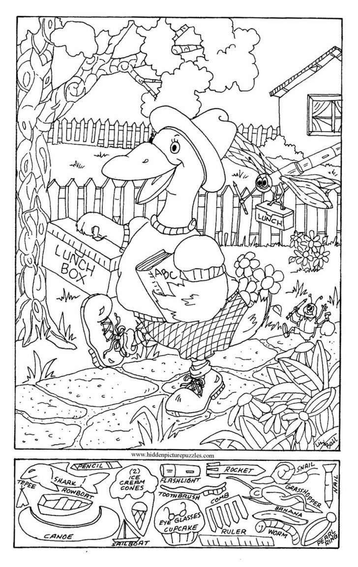 Coloring Page ~ Hidden Picture Coloring Pages Unconditional Pictures - Free Printable Seek And Find