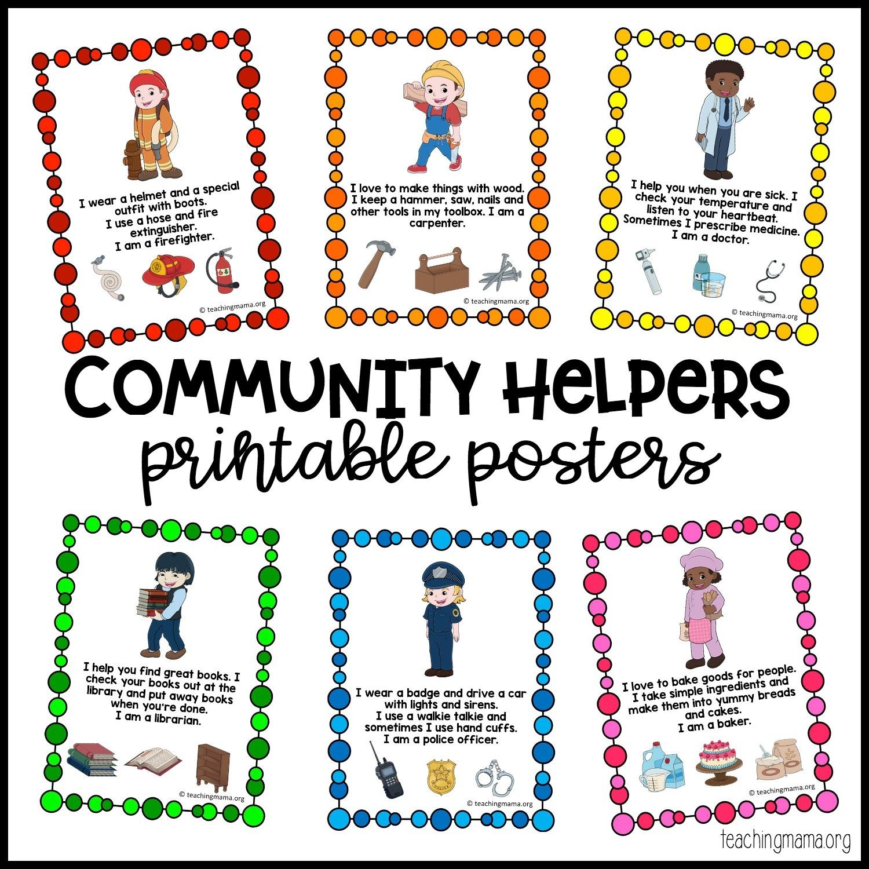 Community Helpers Printable Posters - Teaching Mama - Free Printable Preschool Posters