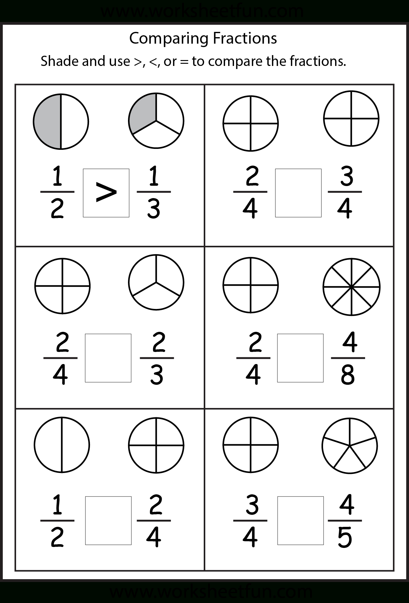 Comparing Fractions Worksheets | Math | 2Nd Grade Math Worksheets - Free Printable Common Core Math Worksheets For Third Grade