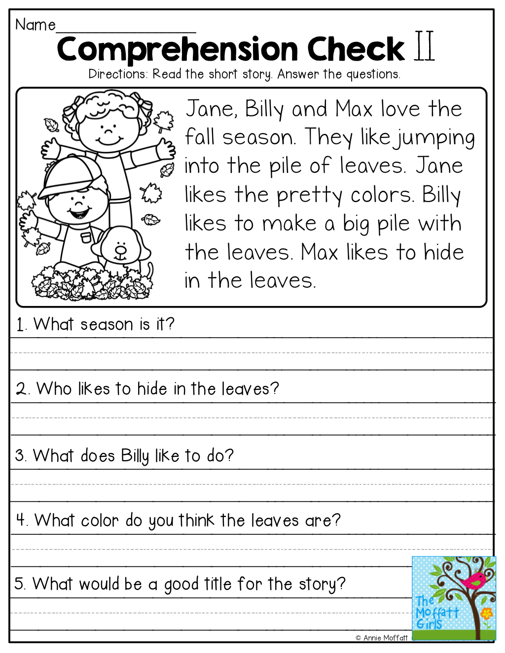 Comprehension Checks And So Many More Useful Printables - Free Printable Short Stories For 2Nd Graders