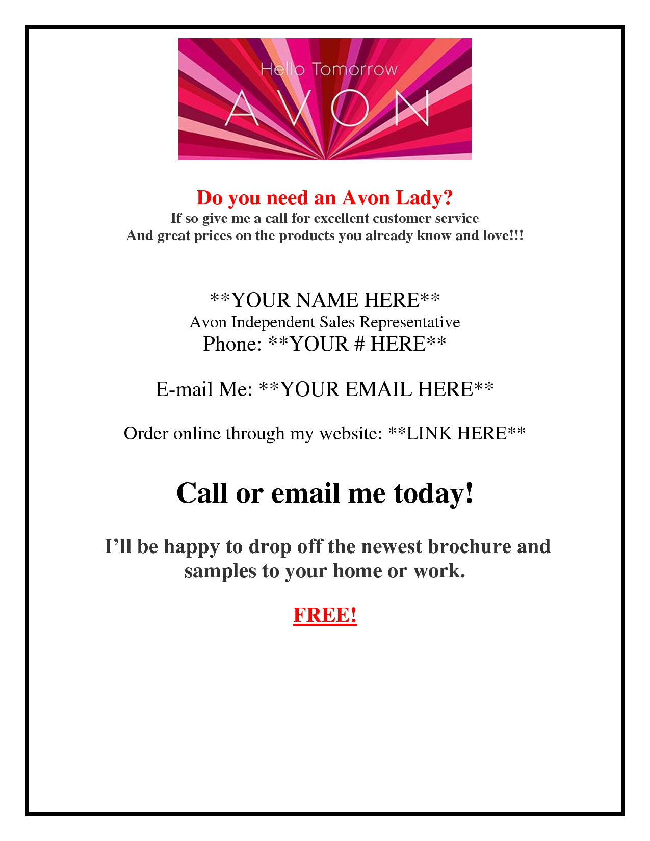 Contact Me Angie Rettig Avon Independent Representative At (941) 822 - Free Printable Avon Flyers