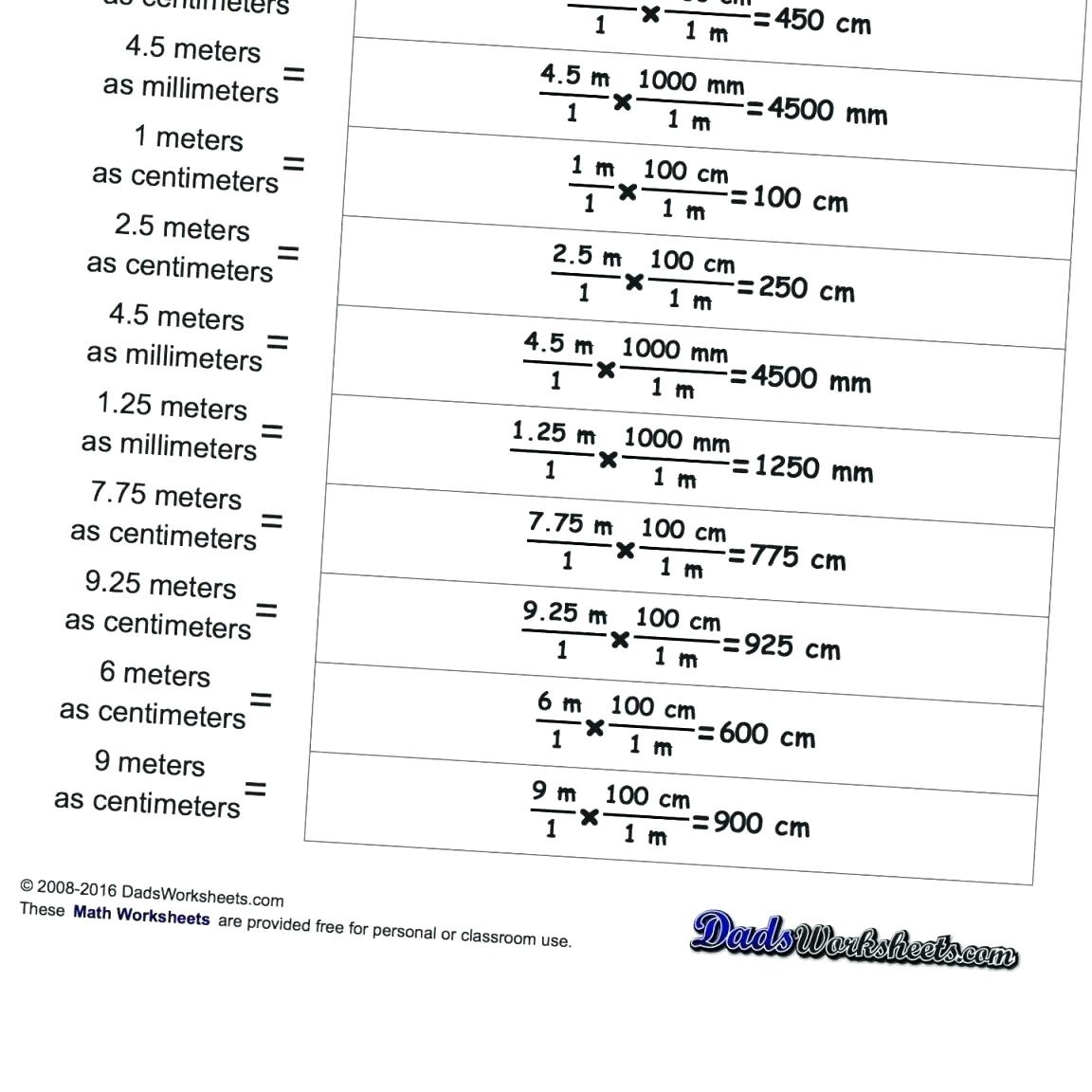 Conversion Prefixes Math Printable Printable Metric System Math - Free Printable Physics Worksheets