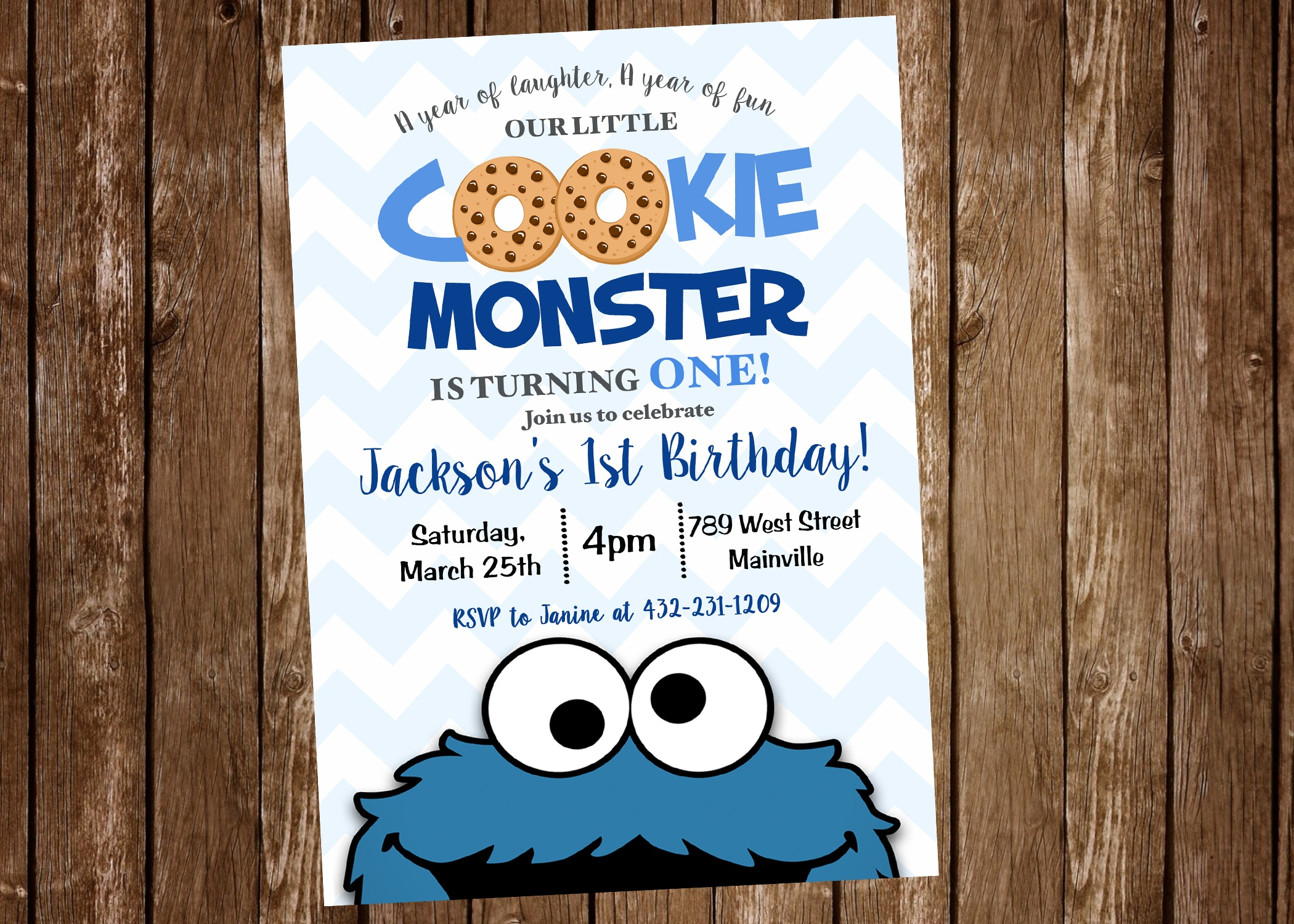 Cookie Monster First Birthday, One Year, Birthday Party, Invitation - Free Printable Cookie Monster Birthday Invitations