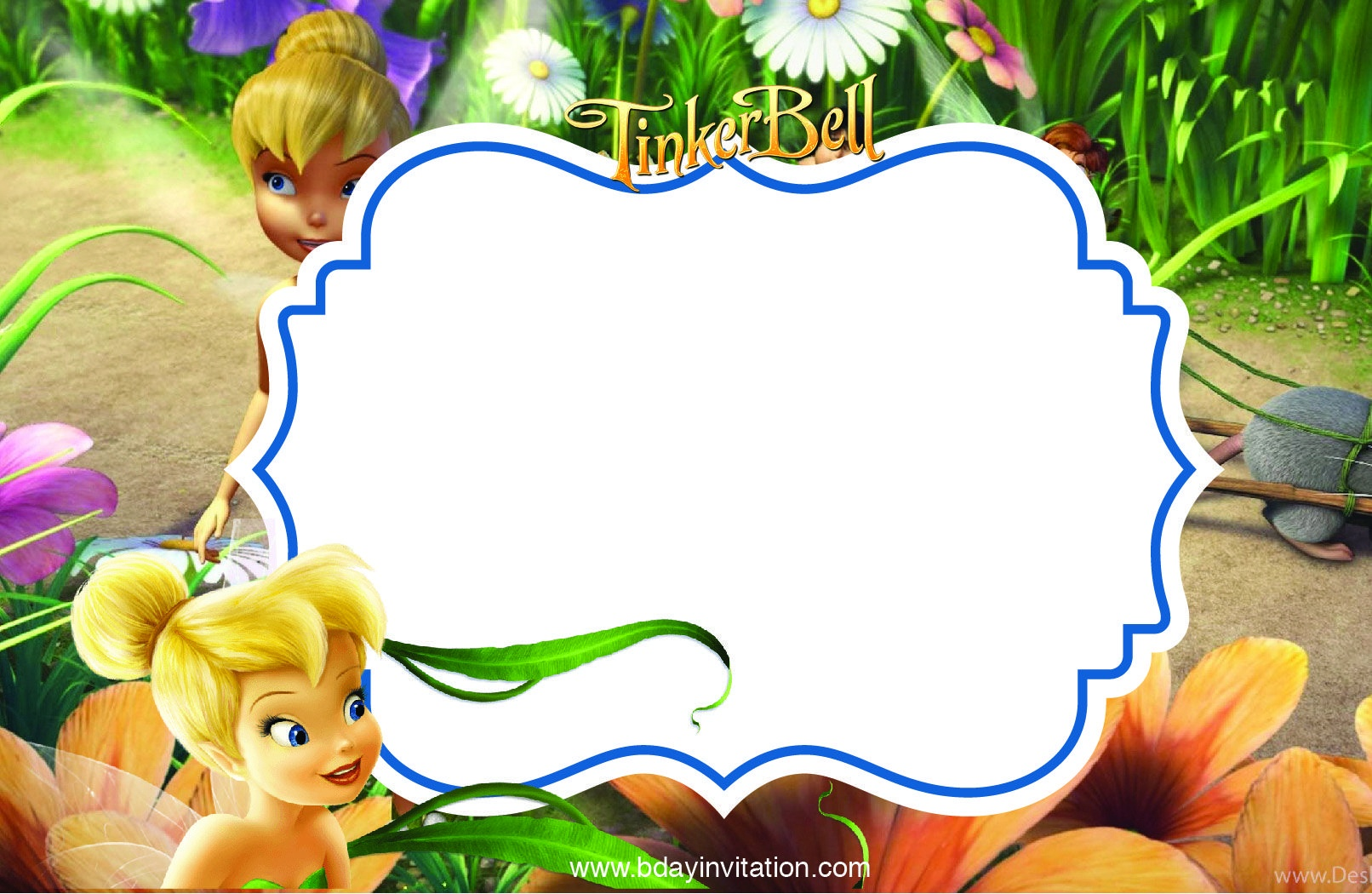 Cool Free Printable Disney Tinkerbell Birthday Invitation Template - Free Tinkerbell Printable Birthday Invitations
