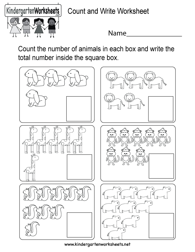 Count And Write Worksheet - Free Kindergarten Math Worksheet For Kids - Free Printable Counting Worksheets