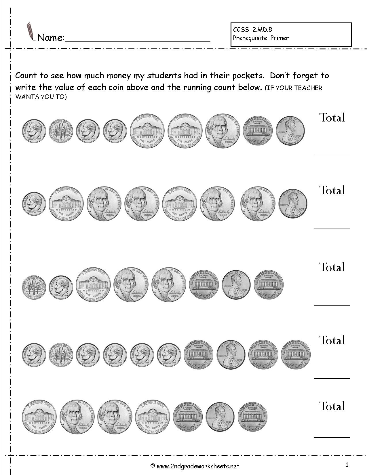 Counting Coins And Money Worksheets And Printouts - Free Printable Money Activities