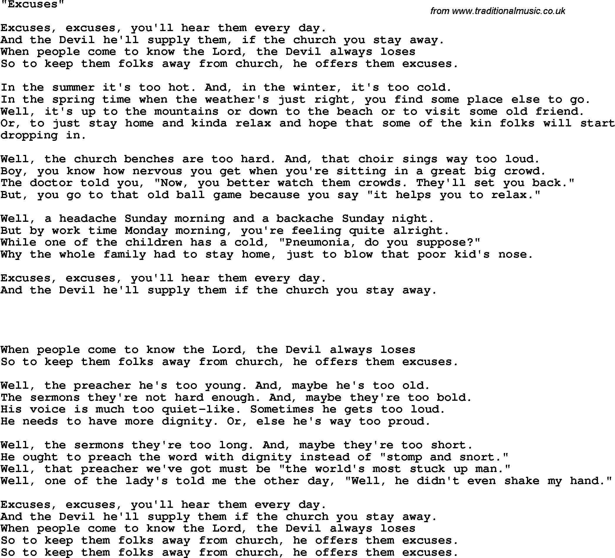 Country, Southern And Bluegrass Gospel Song Excuses Lyrics - Free Printable Southern Gospel Song Lyrics