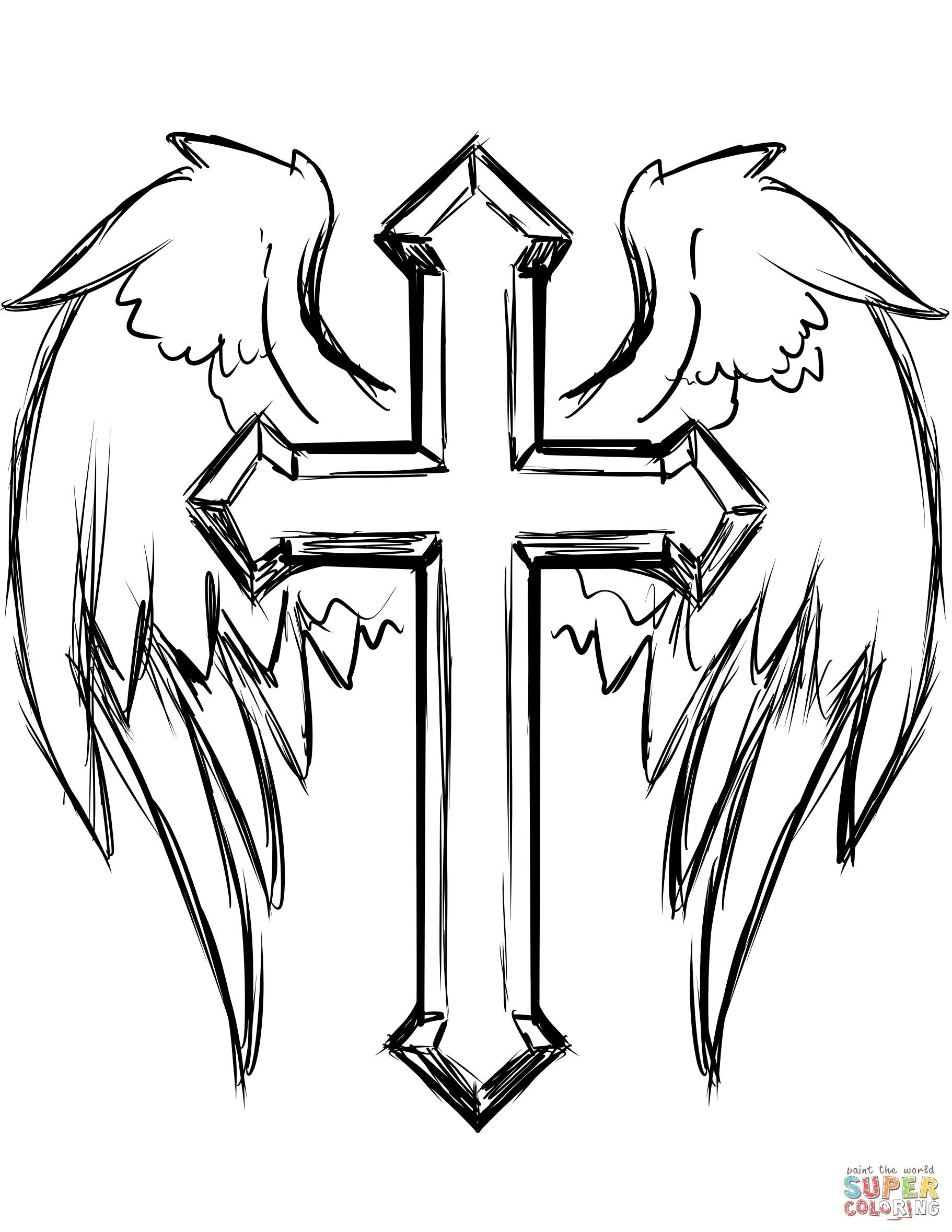 Cross Coloring Pages Fresh Cross With Wings Coloring Page   Coloring - Free Printable Cross Tattoo Designs