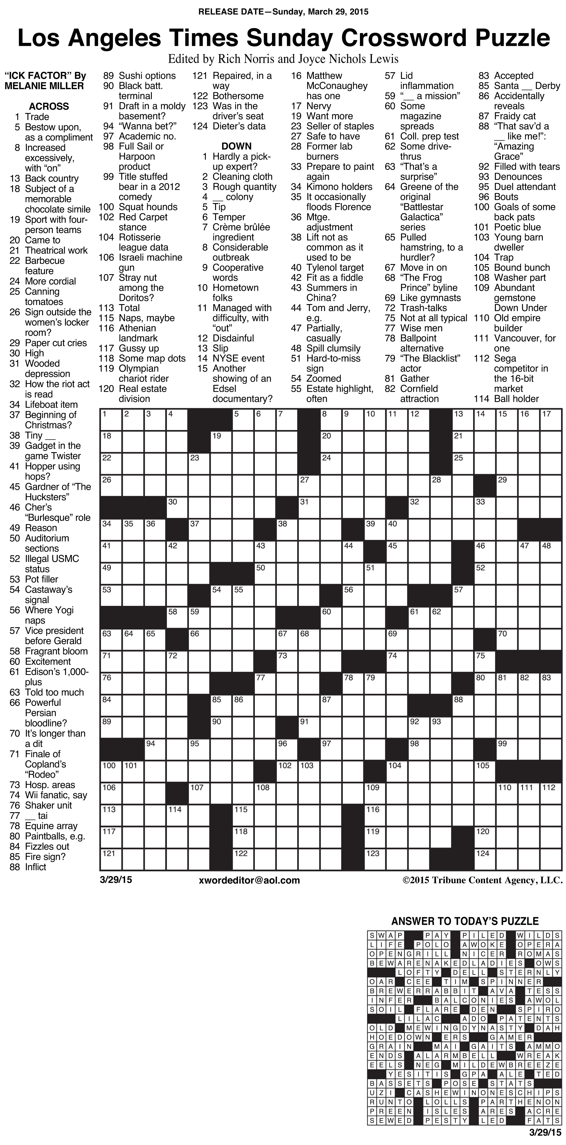 Crosswords Archives | Tribune Content Agency - Free La Times Crossword Printable