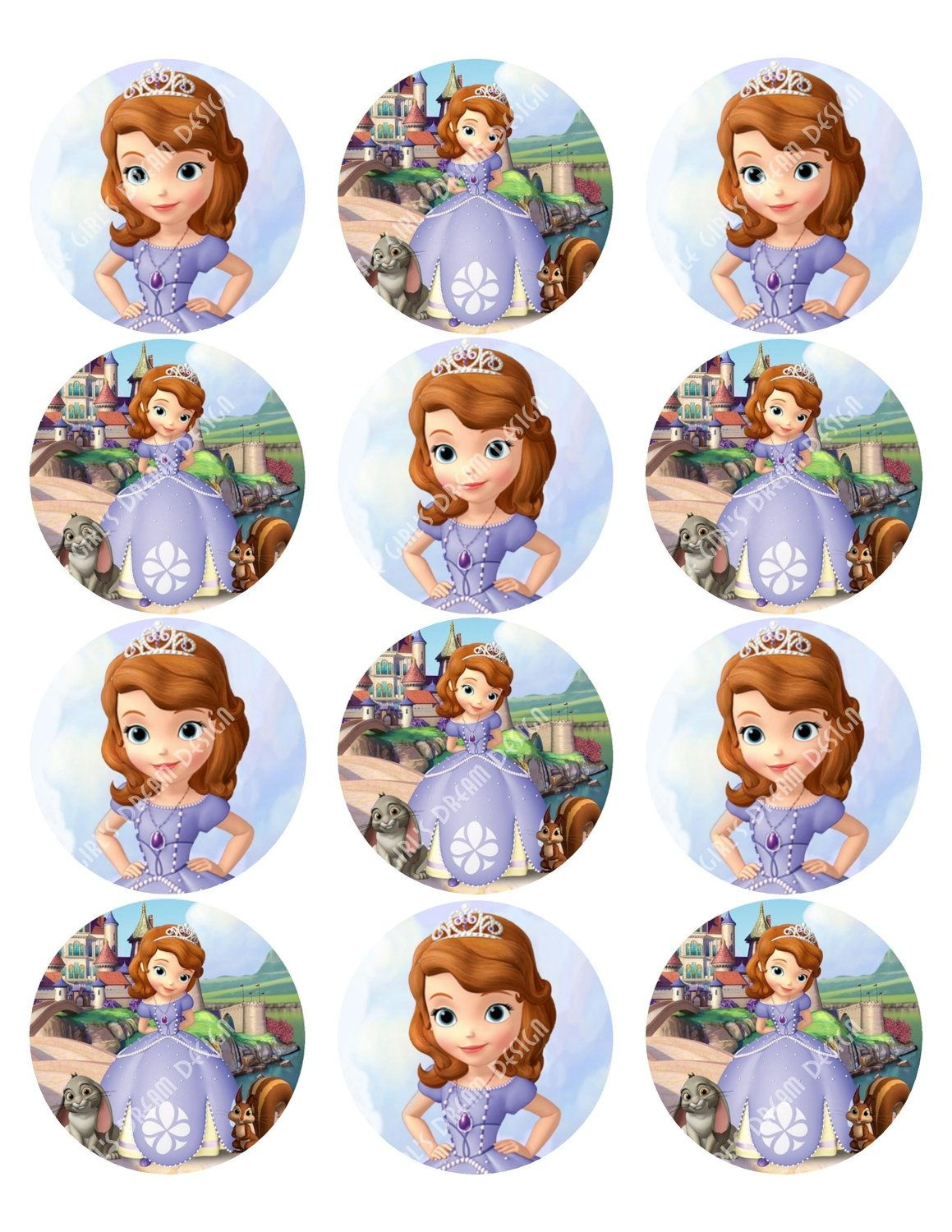 Cupcake Toppers Princess Sofia The First Inspired Round Disney - Sofia The First Cupcake Toppers Free Printable