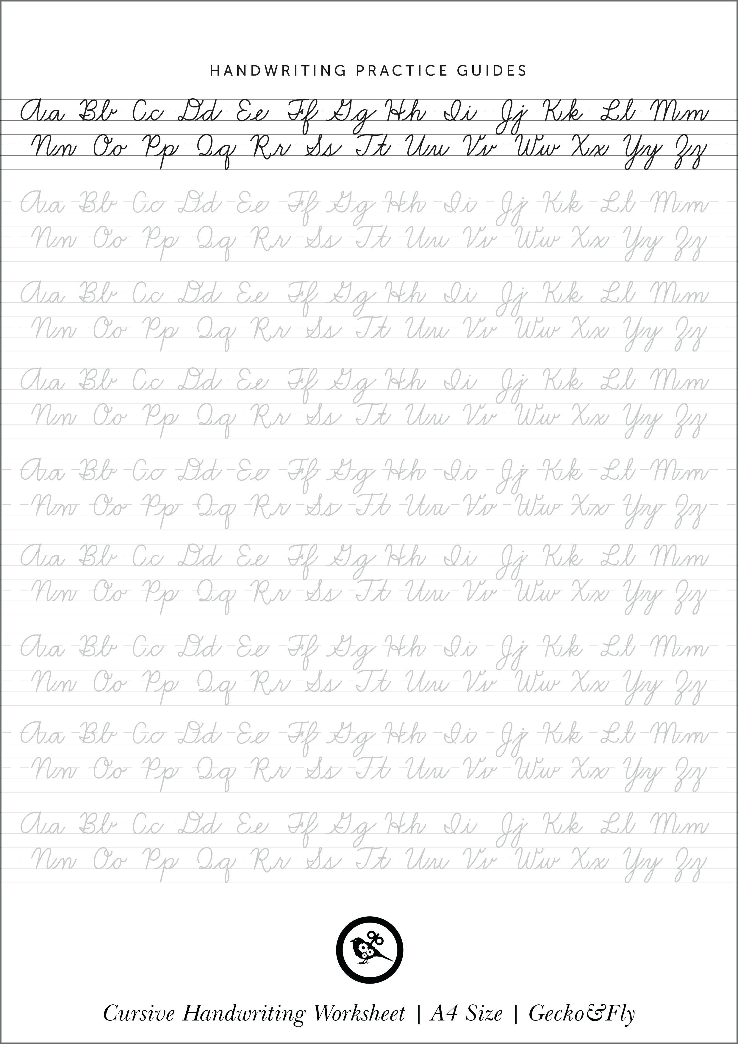 Cursive Alphabet Printout Cursive Alphabet Worksheets Free Printable - Handwriting Without Tears Worksheets Free Printable