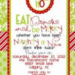 Custom Designed Christmas Party Invitations Eat Drink And Be Merry   Free Printable Christmas Invitations
