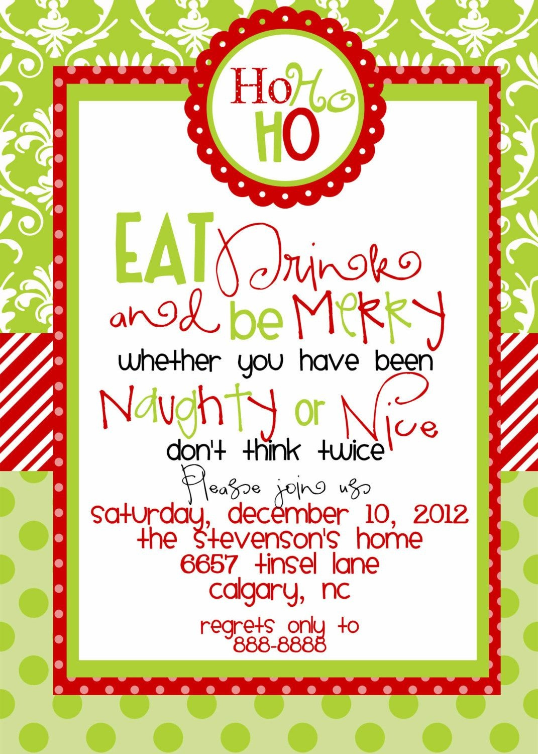 Custom Designed Christmas Party Invitations Eat Drink And Be Merry - Free Printable Christmas Invitations