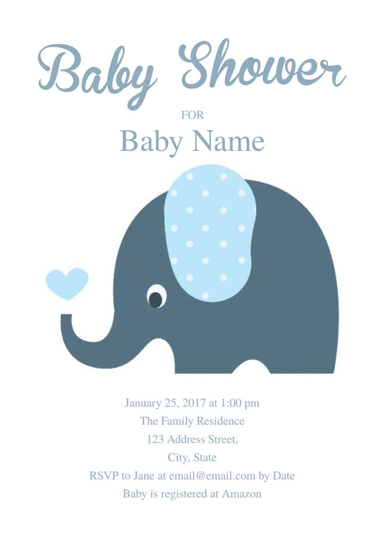 Cute Elephant Baby Shower Invitation Template | Free Invitation - Free Baby Boy Shower Invitations Printable