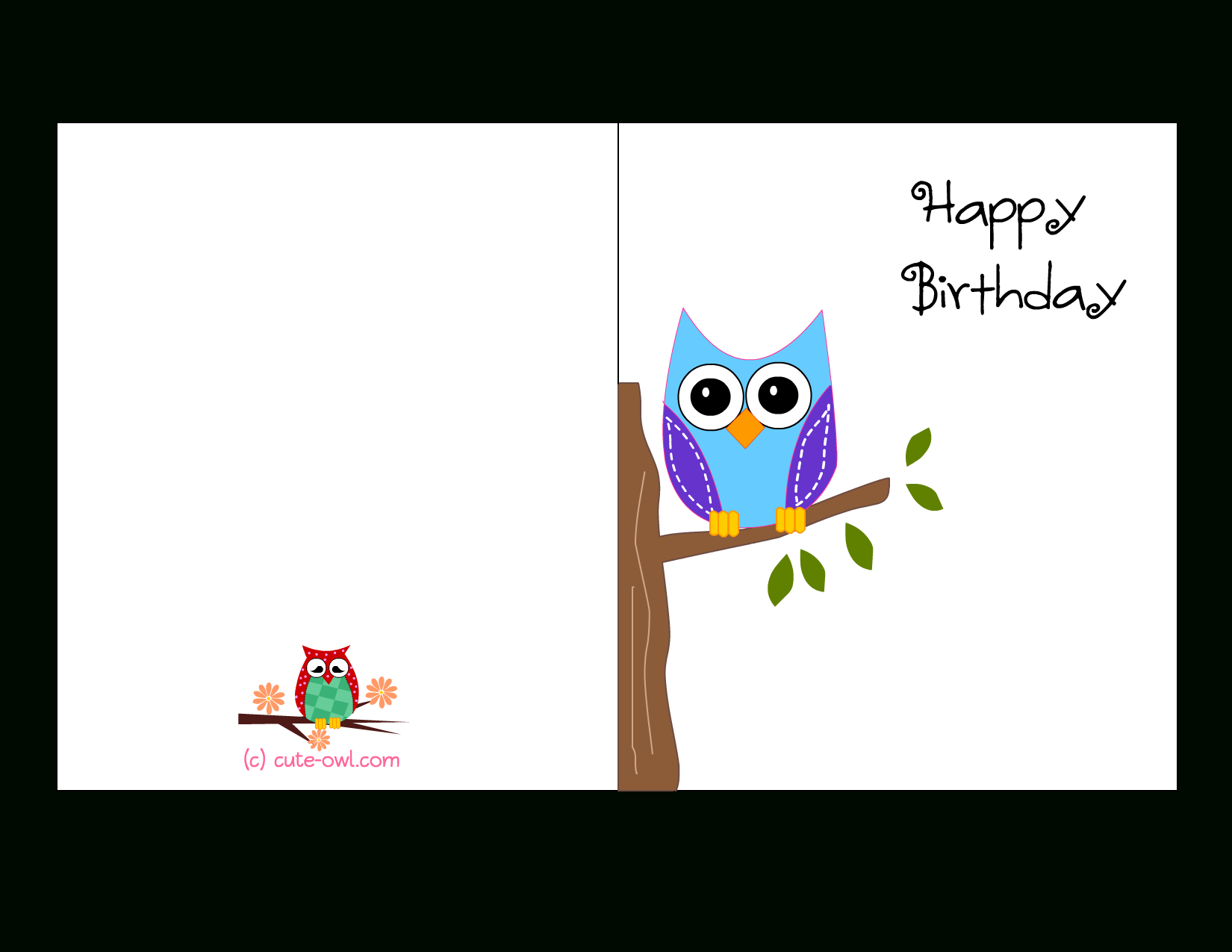 Cute Owl Sitting On A Branch Happy Birthday Card | Favorite - Free Printable Funny Birthday Cards For Adults