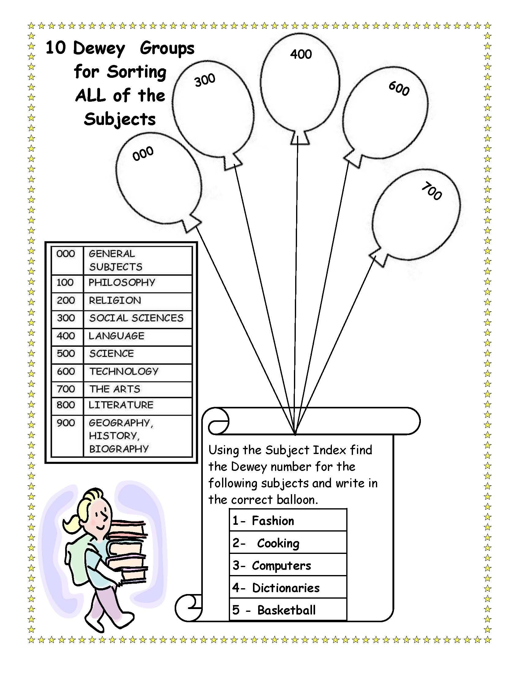 Cute, To Bad I Killed Dewey. Library Skills Worksheet. | Cool Ideas - Free Library Skills Printable Worksheets