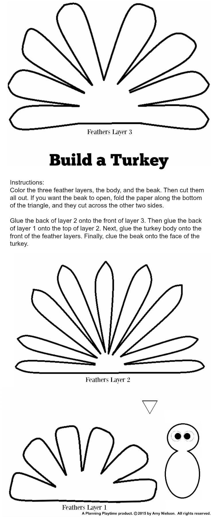 Cute Turkey Craft W/ Free Printable Template | Craft Ideas | Turkey - Free Printable Turkey Craft