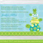 Cute Turtle Frog Baby Shower Invitation / Turtle Baby Shower | Etsy   Free Printable Turtle Baby Shower Invitations