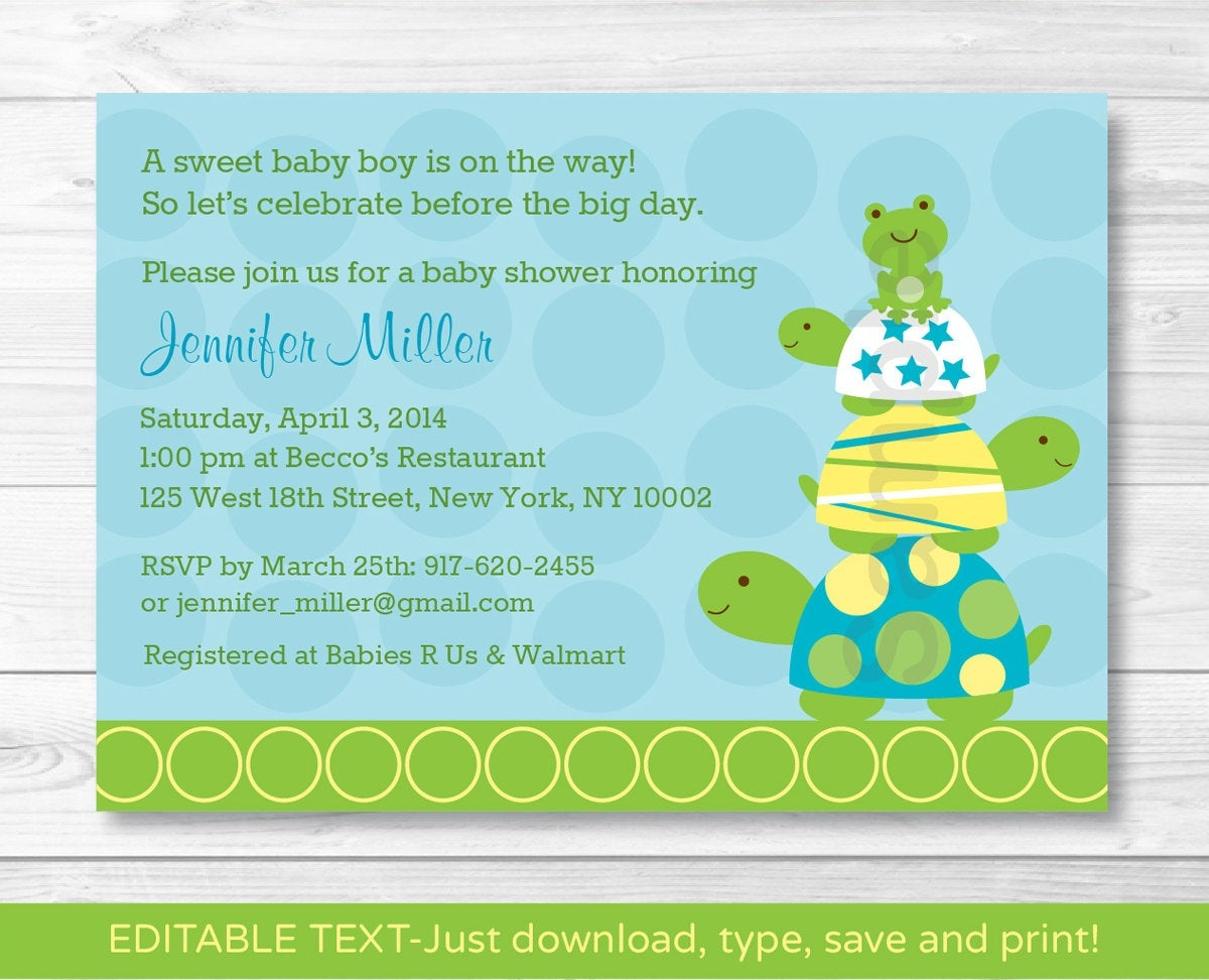 Cute Turtle Frog Baby Shower Invitation / Turtle Baby Shower | Etsy - Free Printable Turtle Baby Shower Invitations