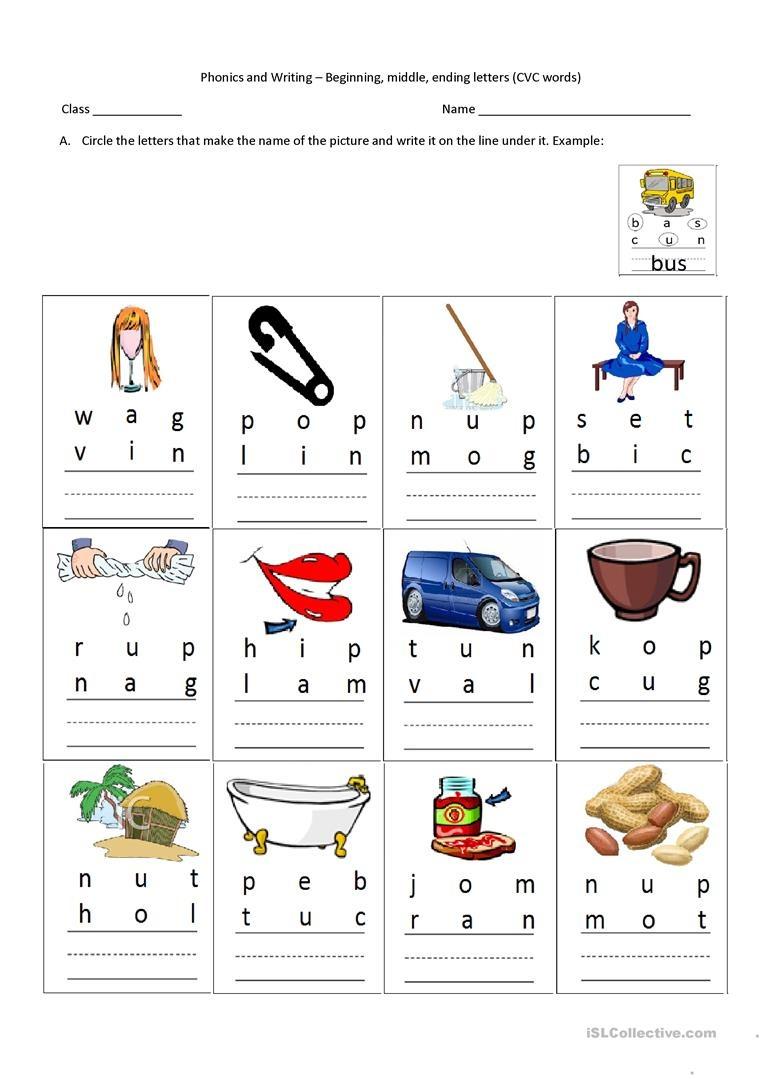 Cvc Words-Beginning, Middle, Ending Letters Worksheet - Free Esl - Cvc Words Worksheets Free Printable