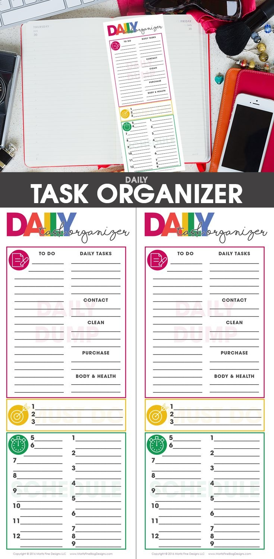 Daily Task Planning Organizer | Organize & Tidy! Spark Joy! | Daily - Free Printable Task Organizer
