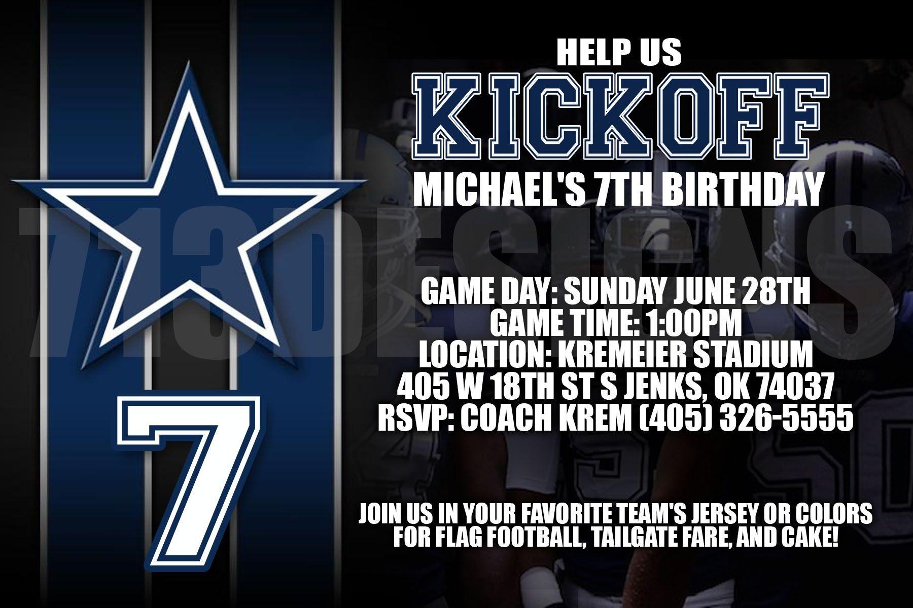 Dallas Cowboys Birthday Invitation   Invitations   Cowboy Birthday - Free Printable Dallas Cowboys Birthday Invitations