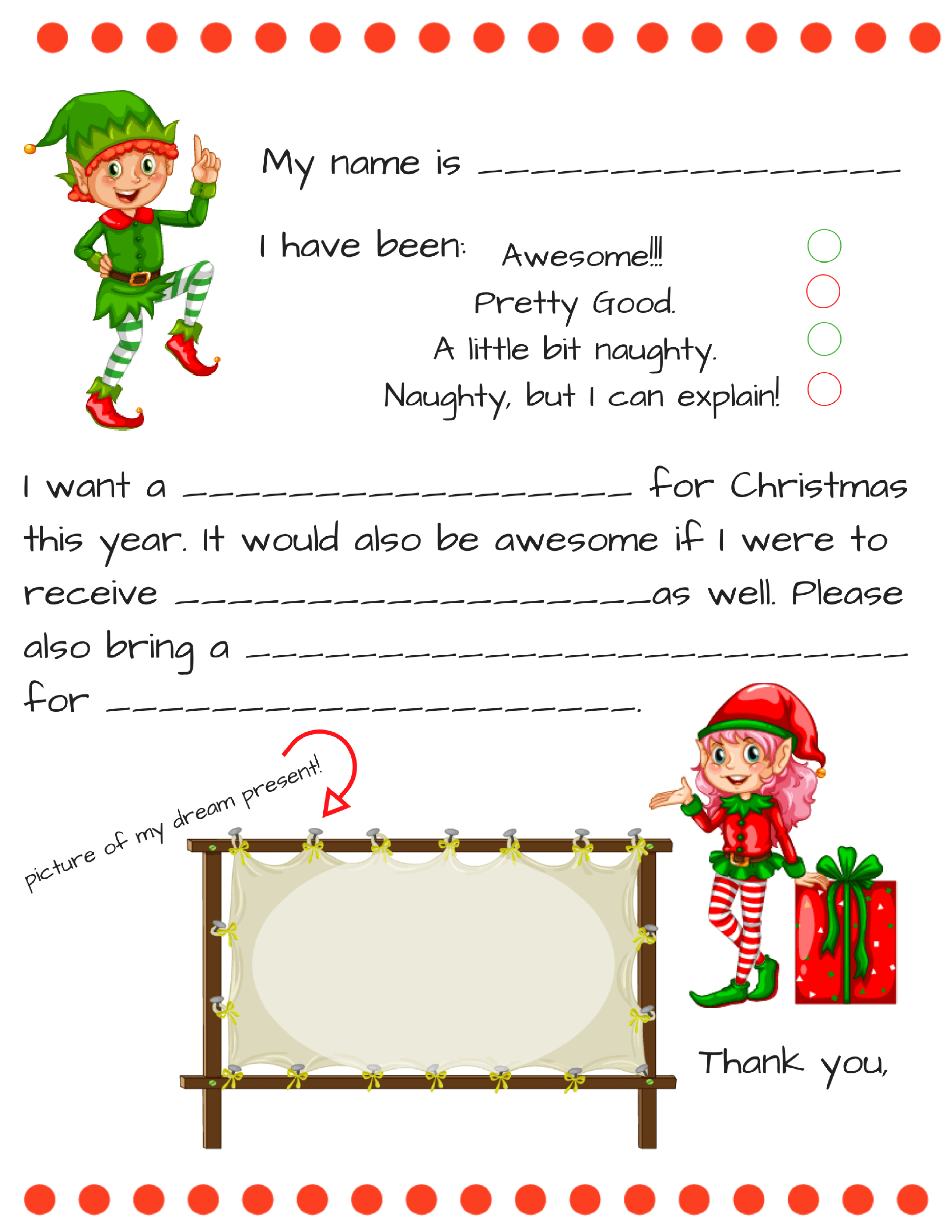 Dear Santa Fill In Letter Template - - Free Printable Letter From Santa Template