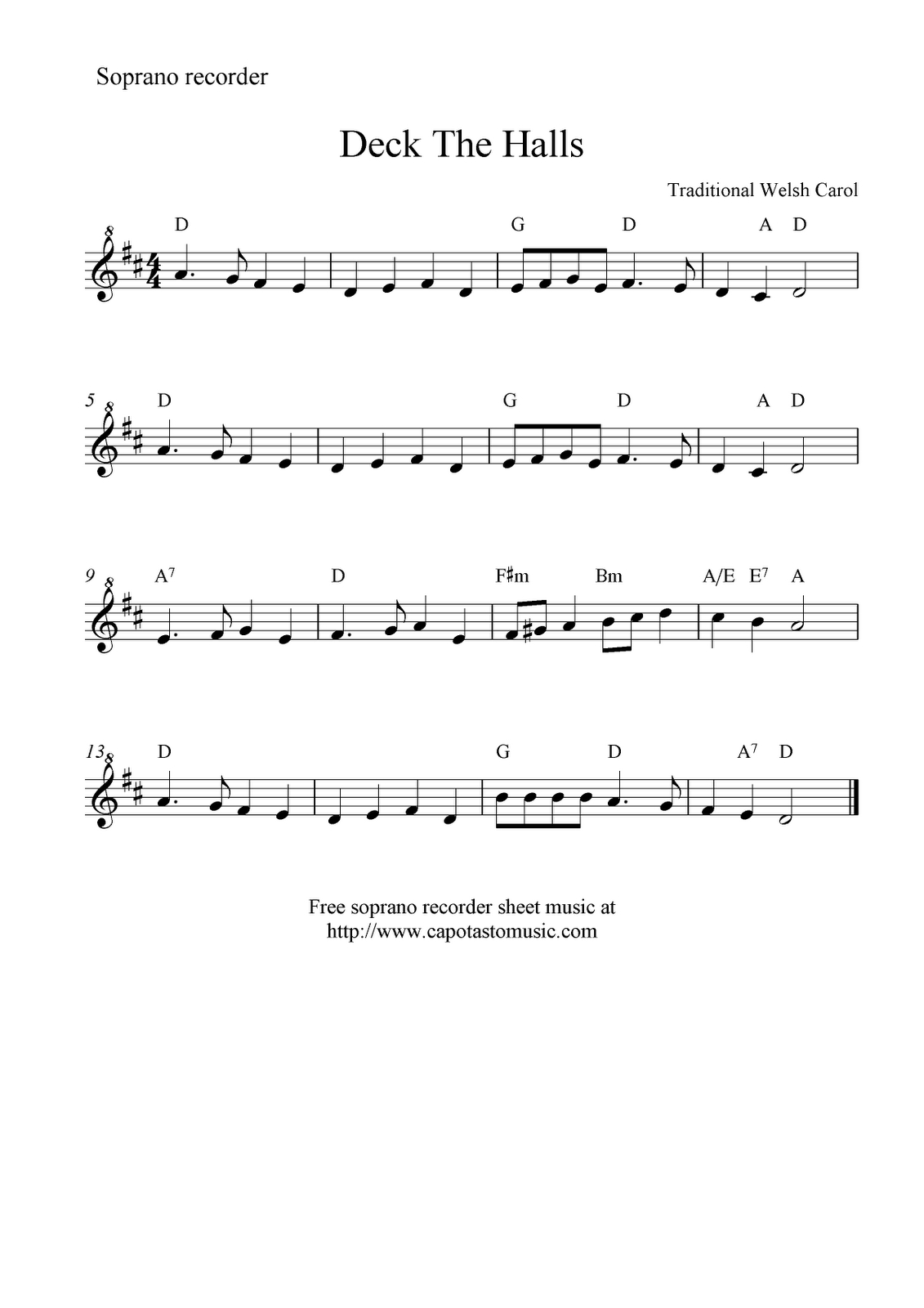 Deck The Halls -- Free Recorder Sheet Music | Music Class | Violin - Free Printable Recorder Sheet Music For Beginners