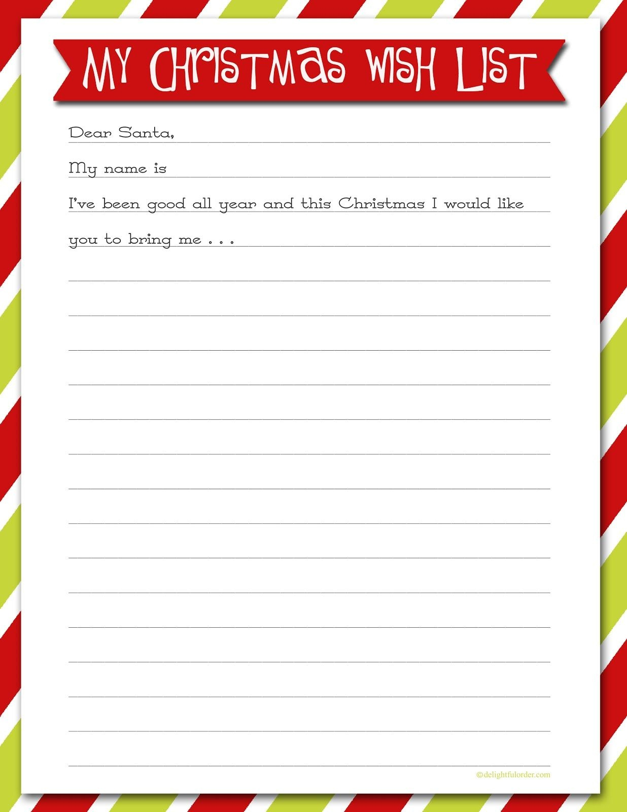 Christmas Wish List 2019.Free Printable Christmas List Free Printable