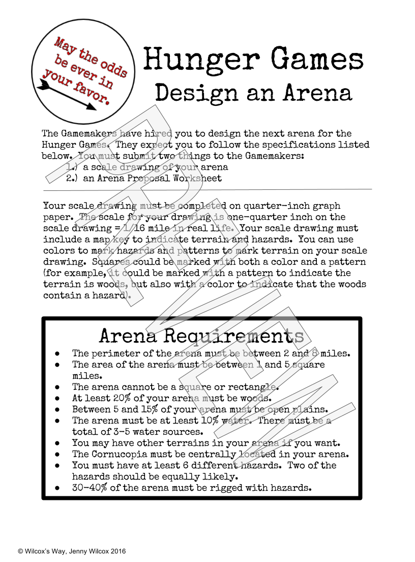 Design An Arena Math Scale Drawing Project   - Math Explorations - Hunger Games Free Printable Worksheets