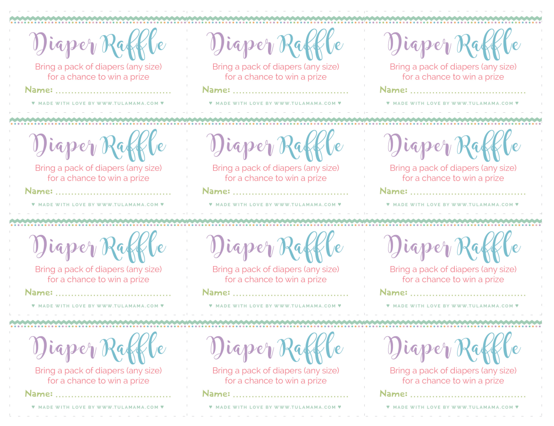 Diaper Raffle Tickets: The Highly Effective Strategy To Getting More - Diaper Raffle Free Printable