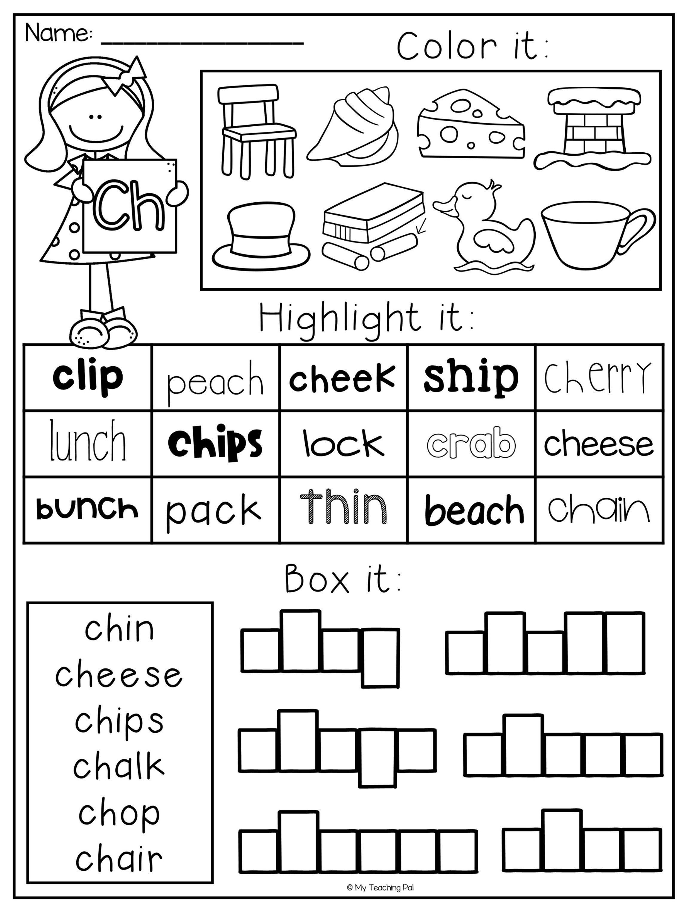 Digraph Worksheet Packet - Ch, Sh, Th, Wh, Ph   Educational - Sh Worksheets Free Printable