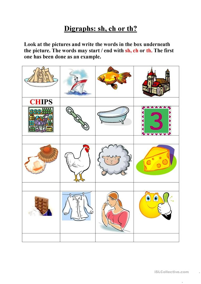 Digraphs, Sh, Ch, Th Worksheet - Free Esl Printable Worksheets Made - Sh Worksheets Free Printable