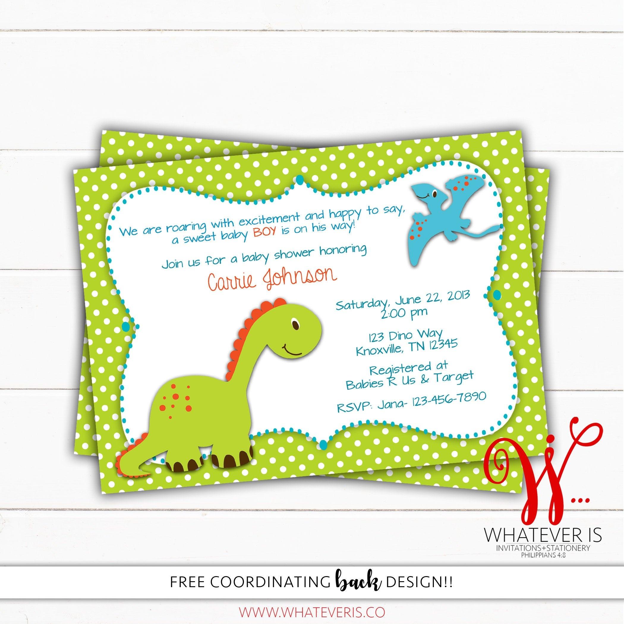 Dinosaur Baby Shower Invitation Dino Baby Shower Theme | Etsy - Free Printable Dinosaur Baby Shower Invitations