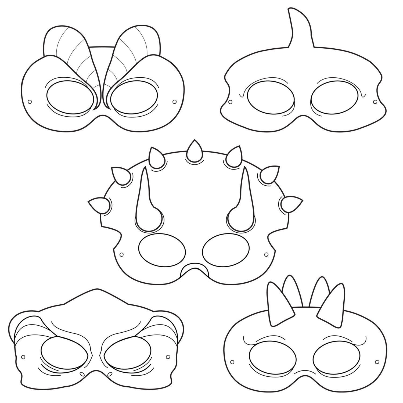 Dinosaurs Printable Coloring Masks Dinosaurhappilyafterdesigns - Free Printable Lizard Mask