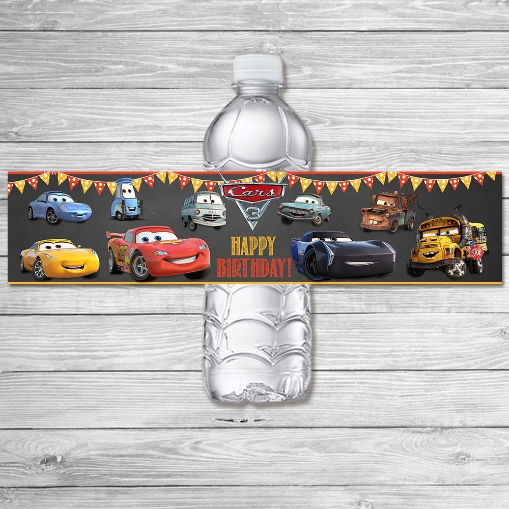 Disney Cars 3 Drink Label Chalkboard Cars 3 Water Bottle | Etsy - Free Printable Cars Water Bottle Labels